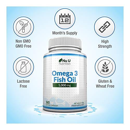 Omega 3 Fischöl 1000 mg von Nu U, 365 Kapseln (Versorgung für 12 Monate) – 100% GELD-ZURÜCK-GARANTIE – Maximale Stärke und Aufnahmefähigkeit – Hergestellt in Großbritannien - 6