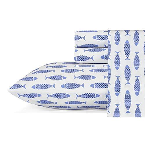 Nautica | Percale Collection Sheet Set-100% Cotton, Crisp & Cool, Lightweight & Moisture-Wicking Bedding, Twin, Woodblock Fish