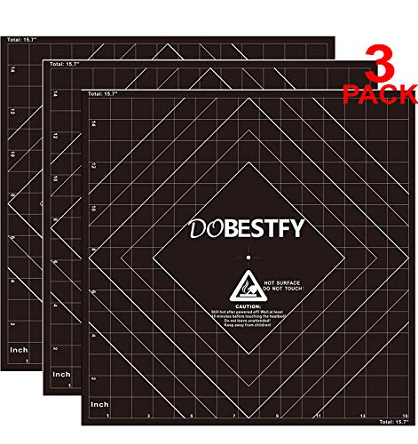 3 Pack 16'x16' (400mmx400mm) Square 3D Printing Build Surface Heat Bed with Adhesive for 3D Printers, Cuttable to Any Size