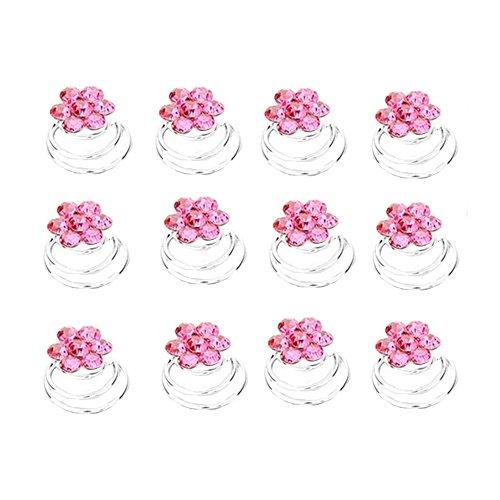 Schmuckanthony 12 Stück Brautschmuck Hochzeit Haarspiralen Spiralen Curlie Curlies Haarschmuck Haarnadeln Silber Blumen Kristall Pink Rosa 1,1 cm Durch.