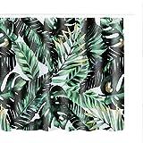 Litthing Duschvorhang 180x180 Anti-Schimmel & Wasserabweisend Shower Curtain mit 12 Duschvorhangringen 3D Digitaldruck Grüne Pflanze mit lebendigen Farben (14)