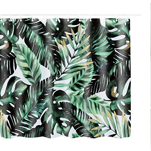 Litthing Duschvorhang 180x180 Anti-Schimmel und Wasserabweisend Shower Curtain mit 12 Duschvorhangringen 3D Digitaldruck Grüne Pflanze mit lebendigen Farben (14)