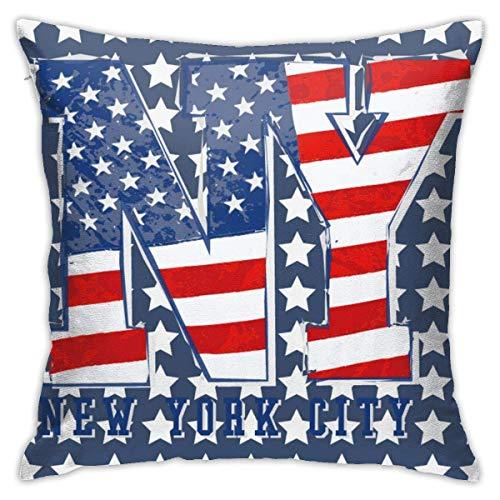 QUEMIN USA Patriottica Bandiera Americana New York Stelle Strisce Gettare Fodere per Cuscini Fodere per Cuscini Federe per Divano Decorazioni per la casa 45x45 cm