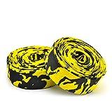 LXY - Cinta para manillar de bicicleta de carretera (microfibra, duradera, cómoda, para ciclismo, carrera, manillar), 2 tapones de barra (color: negro y amarillo)