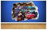 """3D-Wandtattoo mit Motiv """"Cars"""", zerstörte Wand, toll fürs Schlafzimmer, multi, Large: 77cm x..."""
