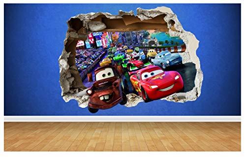 Thorpe Signs - Adesivo da parete con effetto 3D, motivo: Cars