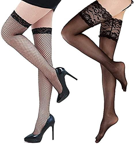 chenghuax Medias de red negro para las medias de retención de mujeres sexy rodilla roja alta calcetines eróticos vendaje de encaje costura vintage ajustable (Color : 2 x stockings, Size : -)