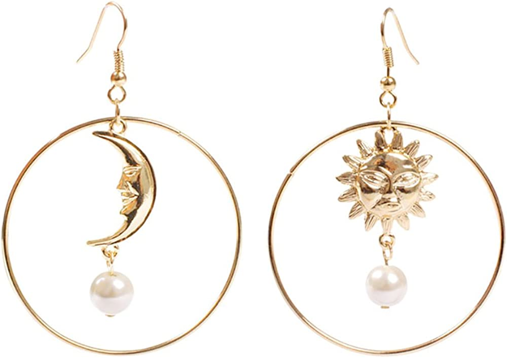 Sun Moon Asymmetric New life Imitation Pearl Gold Penda Outlet ☆ Free Shipping Earrings Annulus