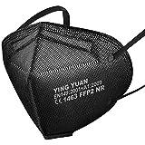 100x FFP2 Schutz Maske Mundschutz Atemschutzmaske Zertifiziert - Atmungsaktives Falten mit Nasenklemme CE1463 EN149:2001+A1:2009 Schwarz