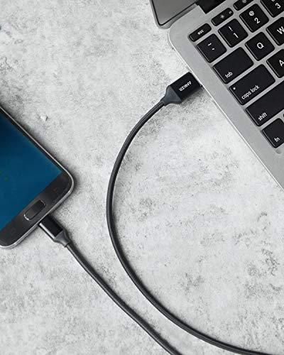 Anker Micro USB Kabel Nylon 1.8M [2-Pack] High Speed Sync und Ladekabel mit vergoldeten Steckern für Samsung, HTC, Huawei, Sony, Nokia, Nexus, Kindle und weitere Android Smartphones (Schwarz)