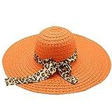 MVPKK Sombrero de Paja para Mujer Pajarita Leopardo Mujeres Sombrero para el Sol Elegantes Bandas de...