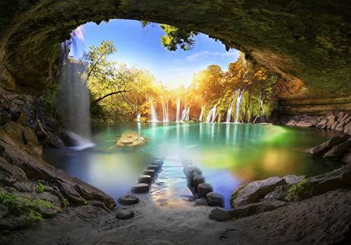 decomonkey Fototapete Wasserfall Landschaft 400x280 cm XL Tapete Fototapeten Vlies Tapeten Vliestapete Wandtapete moderne Wandbild Wand Schlafzimmer Wohnzimmer Natur