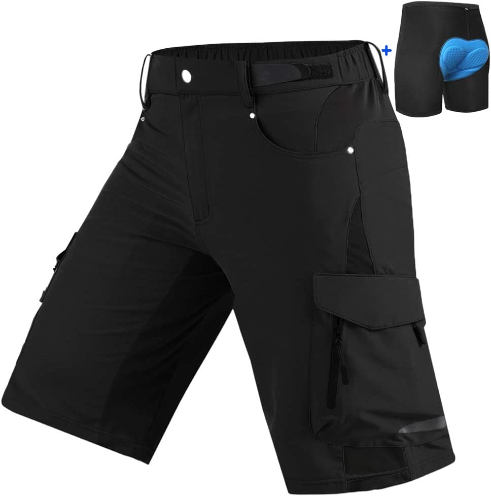 Cycorld Mountain-Bike-Shorts-Mens-Padded MTB Biking Baggy Cycling Short Removable Padding Liner