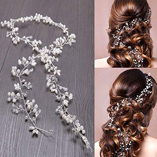WOWOSS 50cm Haardraht Hochzeit Haarschmuck Haardraht Perlen Strass Brautschmuck Braut,Strassbesatz Haarband und Stirnband mit Kristall,Kopfschmuck Kopfabdeckung für Frauen und Mädchen