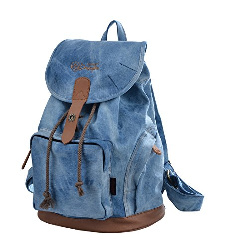 Gezu Vantage Rucksack Damen Männer Rucksäcke Retro Druck Schulrucksack für Uni und Kinderrucksäcke GZ00117 Blau
