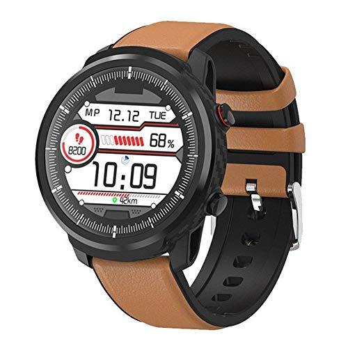 xingyu - Reloj inteligente multifuncional ESEED L5 Pro S10 Plus para hombre IP67, pantalla táctil completa, resistente al agua, 60 días de duración, reloj de ritmo cardíaco (color: cuero marrón)