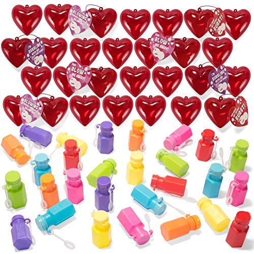 28 Packs Kids Valentines Party Favors Set includes 28 Mini Bubble Wands Filled Hearts and Valentine's Day Cards for Classroom Exchange, Bubble Toys with Bubble Solution for Kids Valentine Gift Exchange & Game Prizes