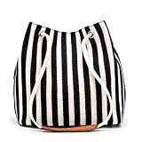 Bydenwely Women's Tote Bag Small Canvas Shoulder Bag Daily Working Handbag with Concise Striped Pattern (Black, Small)