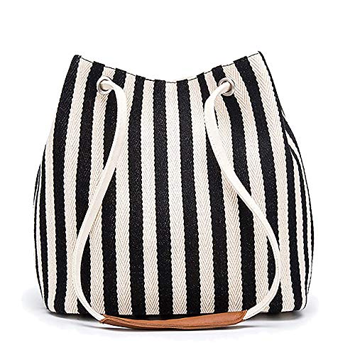 Bydenwely Women's Tote Bag Medium Canvas Shoulder Bag Daily Working Handbag with Concise Striped Pattern (Black)
