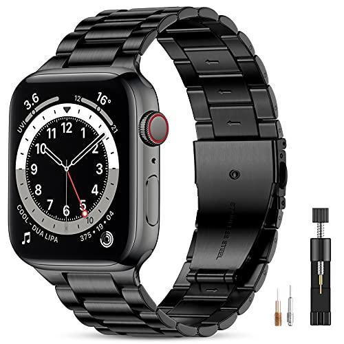Vobafe Compatible con Correa Apple Watch 44mm 42mm 40mm 38mm SE, Pulsera de Repuesto de Metal de Acero Inoxidable Compatible con iWatch Series 6 5 4 3 2 1 42mm/44mm Negro