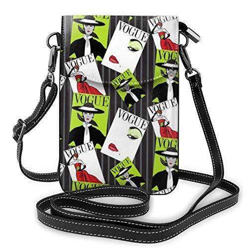 En la cubierta de Vogue Bolso de hombro de cuero Crossbody para teléfono celular bolso ligero bolso cartera bolso bolso para las mujeres de viaje de compras