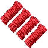 GiantGo 4 rollos de 5 metros de cuerda de algodón suave – Cuerda de algodón trenzado suave – Cuerda trenzada de algodón grueso multifuncional – 8 mm de diámetro cuerdas trenzadas fuertes, color rojo