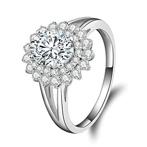 Daesar Silberring Damen Ring Silber Ehering für Damen Benutzerdefinierte Ring Blume Zikonia Ring Größe:52 (16.6)