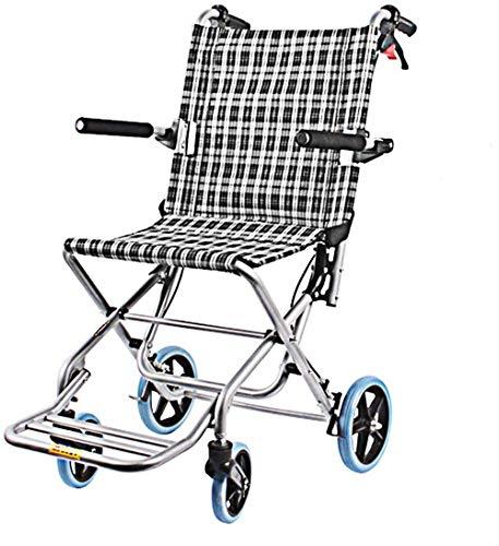 Z-SEAT Sillas de Ruedas de Transporte livianas Plegables con Bolsas/cinturón de Seguridad, Silla de Viaje de tránsito portátil con Frenos de Mano Brazos abatibles