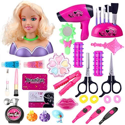 LoKauf 34St. Kosmetik Spielzeug Make Up Set Rollenspiel Friseur mit Haartrockner Spielzeug Set Friseurkoffer für Mädchen Kinder Prinzessin