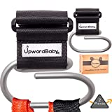 Baby Stroller Hooks | Extra Security Holds 40lbs | UpwardBaby 2 Pack Universal Heavy Duty Clip for Purses Grocery Shopping Diaper Bags Backpacks | Perfect Wheelchairs Accessories | Video Demonstration