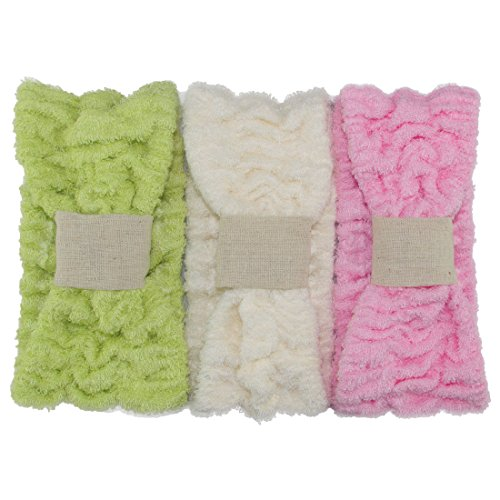 Ladies Fashion Bamboo Fiber Wide Bow Towel Elastic Hair Band Hairlace Headband Hair Bandeau Snood For Washing Face Cosmetic Makeup,Pack of 3