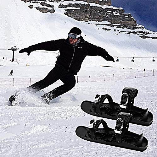 LXVY Mini Ski Skates for Snow Skischuhe The Short Skiboard Snowblades Adjustable Skiing Mini Sledge Snowboard Sports Ski Boots Men Women Universal Sports Ski Shoes, One Size