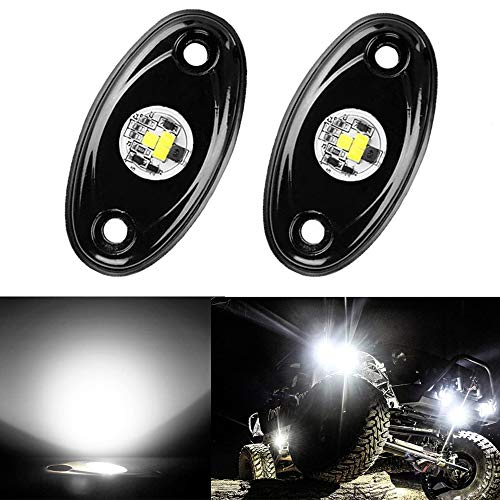 ANKIA 2 Pods LED Rock Lights Kit Waterproof LED Neon Underglow Light for Jeep Car Truck ATV UTV SUV Offroad Boat Underbody Glow Trail Rig Lamp (2 Pods, White)