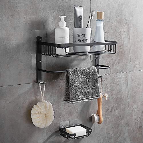 DUFU Duschregal Eckablage Duschkorb Duschablagen Ohne Bohren Ablage Seifenschale mit Handtuchhalter und Seifenschale für Bad und Küche Duschablagen Wandmontage Aluminium Matt Schwarz
