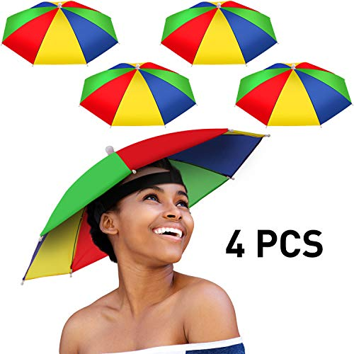 4 Pieces Rainbow Umbrella Hat Adjustable Sun-rain Umbrella Hat for Adults and Kids (Color Set 1)