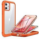 Miracase 360 Grad Hülle Kompatibel mit iPhone 12/12 Pro (6.1 Zoll), Ganzkörper Schutzhülle mit eingebauter Glas Bildschirmschutzfolie, Stoßfeste Fullbody Handyhülle, orange