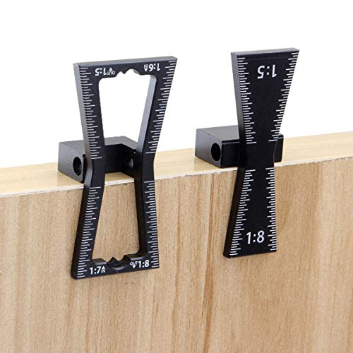 2 PCS Dovetail Marker Guide, Aluminum Alloy Dovetail Marking Jig Precise Wood Dovetail Tools, Dovetail Guide with 1:5, 1:6, 1:7 and 1:8 Slopes for Both Softwood or Hardwood Applications