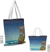 Handbag or crossbody messenger bag Ocean Cartoon Car With Surfboards Blue Night Ocean Waves Travel Summer Island Illustration Washable tote 16.5