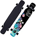 Longboard 118CM Pro Skateboard, Cruiser Trick Skateboard, Komplettes kanadisches Ahornholz, Schwarzes Longboard für Anfänger Erwachsene Teens Mädchen Jungen Kinder (Nachtblume)