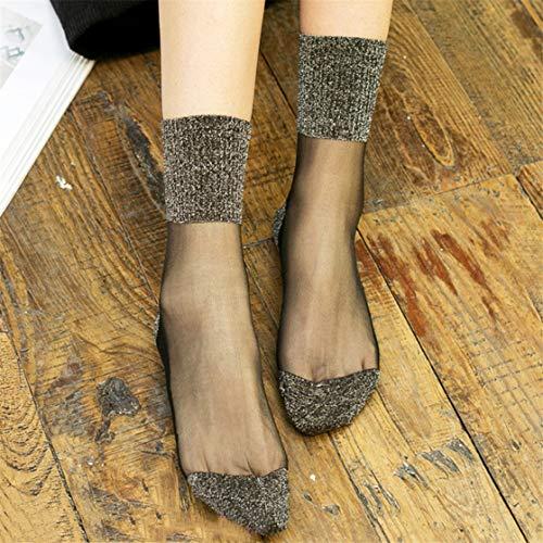 JINLL Damen Free-Size Ankle Sheer Socken Kristall Transparente Knöchel Seidige Socken, Silber
