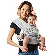 Baby K'tan Original Baby Wrap Carrier, Infant and Child Sling - Simple Wrap Holder for Babywearing - No Rings or Buckles - Carry Newborn up to 35 lbs, Heather Grey,Women 10-14 (Medium), Men 39-42