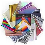 Arteza Vinilo textil termoadhesivo | 25,4 x 30,5 cm | Caja de 12 hojas flexibles | Vinilo térmico resistente, fácil de pelar y sin tóxicos | Apto para cualquier máquina de corte | Colores surtidos