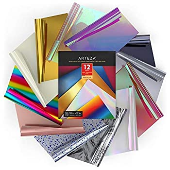 Arteza Holographic & Rainbow Heat Transfer Vinyl HTV Bundle 12 Iron On Vinyl Sheets 10x12 Inches Assorted Colors Flexible & Easy to Weed Use with Any Craft Cutting Machine Boxed