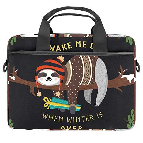 LORVIES Baby luiaard Slaapzak Winter Forest Laptop Bag Schouder Messenger Bag Zakelijke Mouw Draaghandvat Tas voor 14 naar 15.4 inch Laptop Notebook
