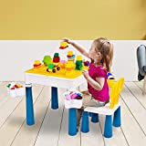 CosHall 5 in 1 Kindersitzgruppe, Kinder Spieltisch, Sitzgruppe Kinder mit Stauraum,Kleinkinder Tisch...