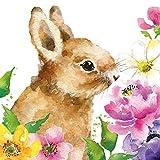 CasaJame Tovaglioli (set da 2 / 40 pezzi) a 3 strati, 33 x 33 cm, motivo coniglietto pasquale con fiori, colore: verde acqua