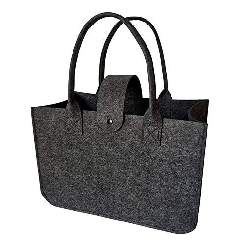 Bolsas de fieltro multifuncionales para la compra diaria, bolsas de fieltro de color gris oscuro, para viajes (14,96 x 9,84 x 7,09 pulgadas)