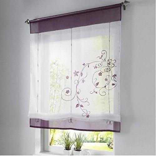 SIMPVALE Bordado de Flor Cortina Visillos en Organdi Paramento Superior y Bordado Lino, 100x140cm, Púrpura