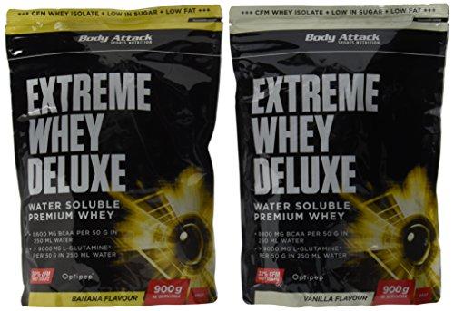 Body Attack Extreme Whey Deluxe, Banana Cream + Vanille, 1800 g, 2 Stück
