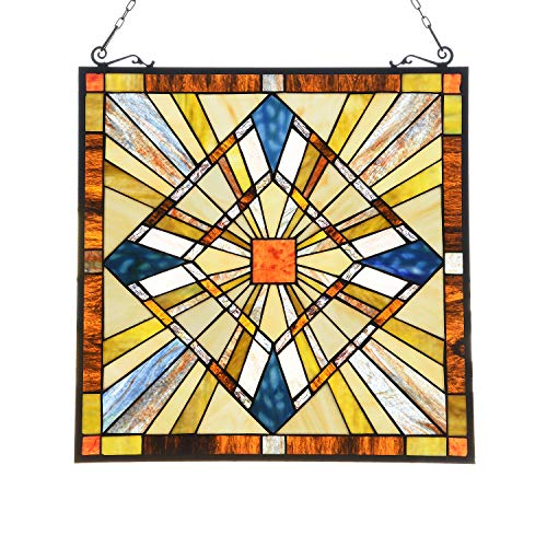 Capulina Stained Glass Panels Beautiful Mission Style Tiffany Window Panel Stained Glass Hanging Panel Stained Glass Window Panels Tiffany Style Window Panels with Chain